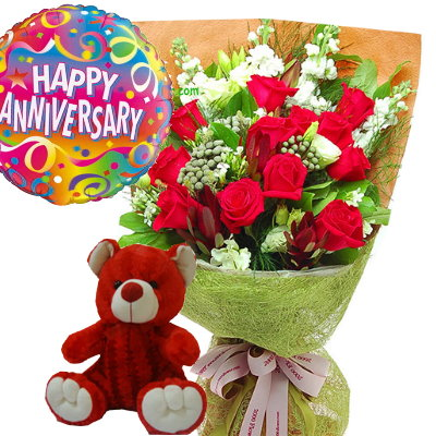 Red Roses Bear With Happy Birthday Balloon Send Jpg 400x400 And Balloons