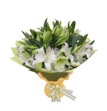 12 White lilies Bouquet Send to Manila Philippines