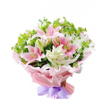 5 White lilies and 4 Pink lilies Send to Manila Philippines
