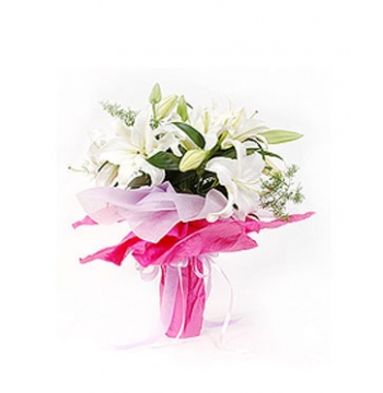 5 Perfume of White lilies with Green leaves Send to Manila Philippines