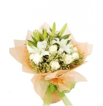 12 White Roses,2 White lilies with Green leaves Send to Manila Philippines