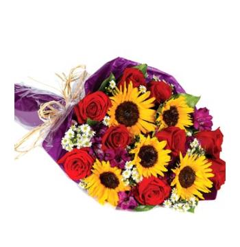 Sunflowers,Red Roses,Purple Alstroemeria and Solidago Bouquet Send to Manila Philippines