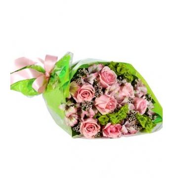 Pink Roses and Pink Alstroemeria with Pink Waxflower Send to Manila Philippines