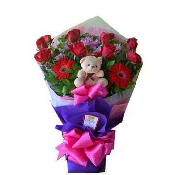 12 Red Roses Bouquet with Bear and Gerbera