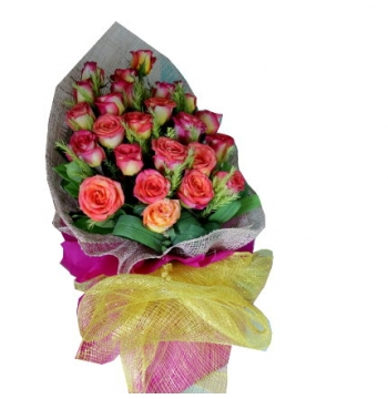 24 Pink & Yellow Roses Bouquet