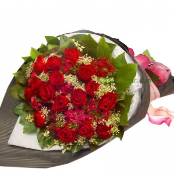 24 Red Roses Bouquet with Greenery