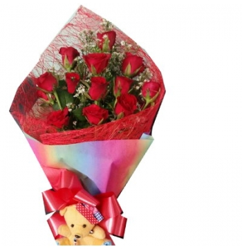 12 Red Roses with Greenery Bouquet