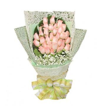 24 Peach Roses Bouquet