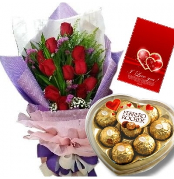 12 Red Roses with Ferrero Rocher Chocolate