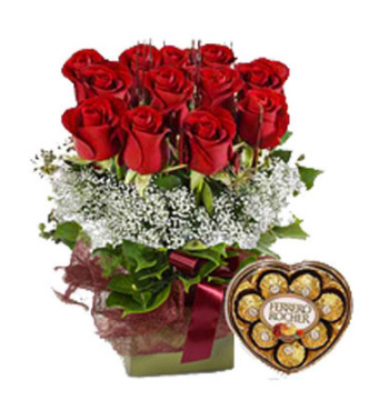 12 Red Rose with Ferrero Box Chocolate