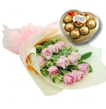 12 Pink Roses with Ferrero Rocher Chocolate Send to Manila Philippines