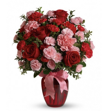 12 Red Roses and Pink Carnation Send to Manila Philippines
