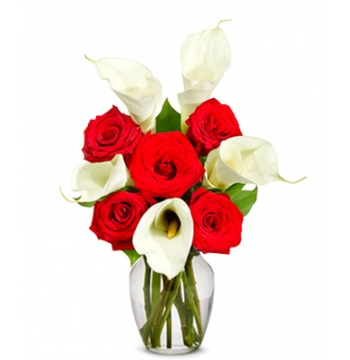 6 Red Rose & Calla Lily Bouquet Send to Manila Philippines