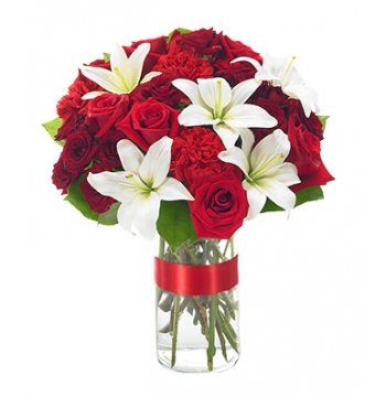 Red Roses and White lilies Send to Manila Philippines