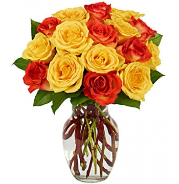 2 Dozen Yellow & Orange Rose Bouquet Send to Manila Philippines