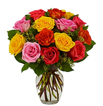 Assorted & Beautiful Bright Roses Send to Manila Philippines