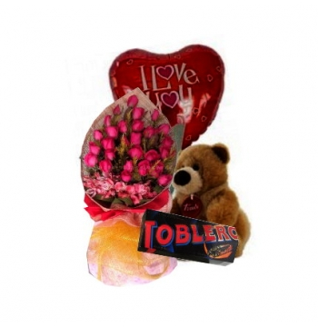 24 Red Roses,Brown Bear,Toblerone Chocolate with I Love U Balloon