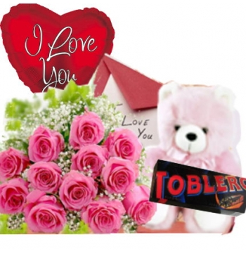 12 Pink Roses,Pink Bear,Toblerone Chocolate with I Love U Balloon