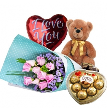 12 Light Pink Roses,Brown Bear,Ferrero Rocher Chocolate with I Love U Balloon