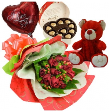 12 Red Roses,Red Bear,Guylian Chocolates with I Love U Balloon