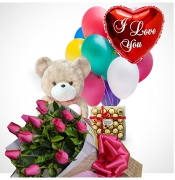 12 Red Roses,Bear,Ferrero Rocher Chocolates with I Love U Balloon