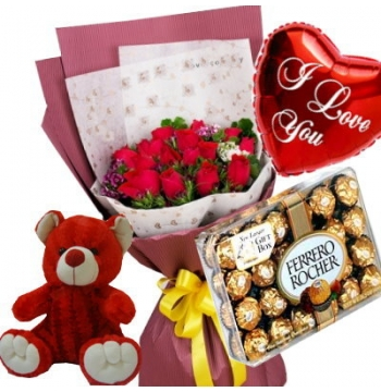 12 Red Roses,Red Bear,Ferrero Rocher Chocolate Box with I Love U Balloon