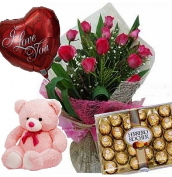 12 Red Roses Bouquet,Pink Bear,Ferrero Rocher Chocolate Box with I Love U Balloon