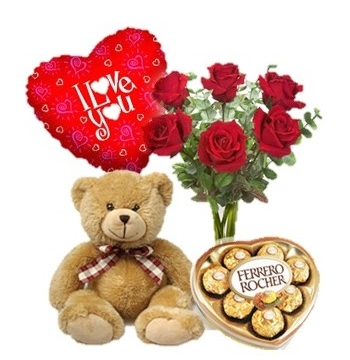 6 Red Roses Vase,Brown Bear,Ferrero Rocher Chocolate Box with I Love U Balloon