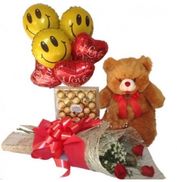 3 Red Roses,Brown Bear,Ferrero Rocher Chocolate with I Love U Balloon