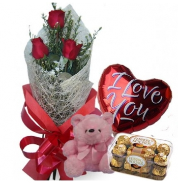 3 Red Roses,Pink Bear,Ferrero Rocher Chocolate with I Love U Balloon