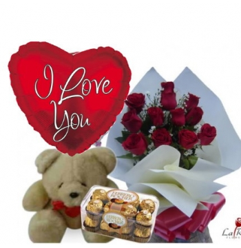 12 Red Roses,Bear,Ferrero Rocher Chocolate with I Love U Balloon
