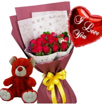 12 Red Roses Bouquet,Red Bear with I Love u Balloon