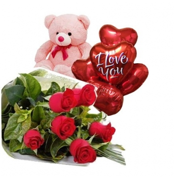6 Red Roses Bouquet,Pink Bear with I Love u Balloon