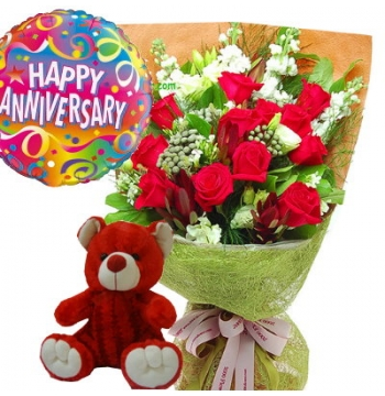 12 Red Roses,Red Bear with Happy Birthday Balloon