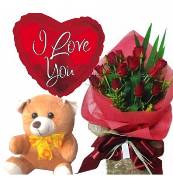 12 Red Roses,Cute Bear with I Love u Balloon