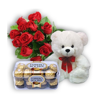 12 Red Roses, Bear with Ferrero Chocolate