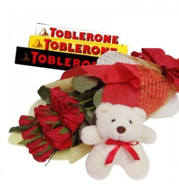 12 Red Roses Bouquet,White Bear with Toblerone Chocolate