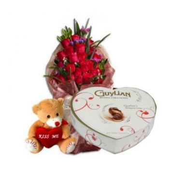 12 Red Roses Bouquet,Kiss Me Bear with Guylian Chocolate