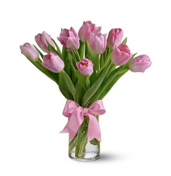 Pink Tulip with Vase Send to Manila Philippines