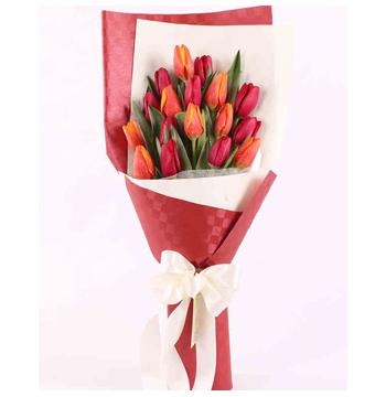 12 Red-Orange Tulips Send to Manila Philippines