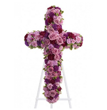 Pinks and Purples Galore Cross Standing Spray Send to Manila Philippines