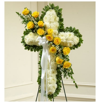 White and Yellow Cross Sympathy Spray Send to Manila Philippines