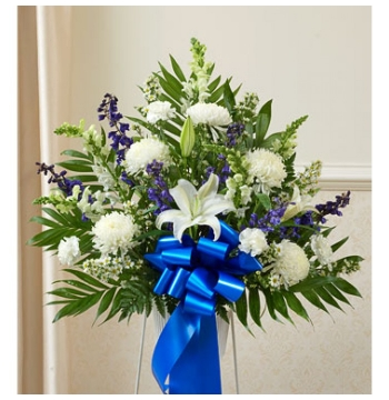 Deepest Sympathies Blue and White Flowers Delivery to Manila Philippines