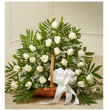 Delicate White Roses Basket Delivery to Manila Philippines
