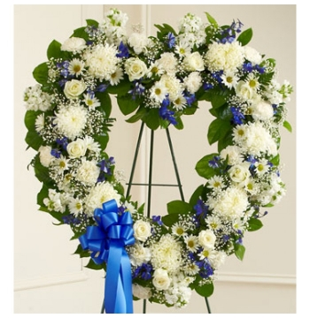 Blue and White Heart Wreath Send to Manila Philippines