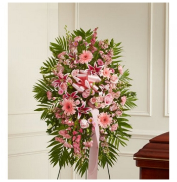 Deepest Sympathies Standing Spray - Pink Send to Manila Philippines