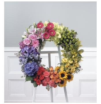 Bright Mixed Color Wreath Send to Manila Philippines