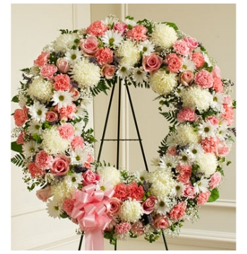 Pink and White Wreath Send to Manila Philippines
