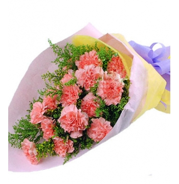 18 Pink Carnations with Greenery Send to Manila Philippines