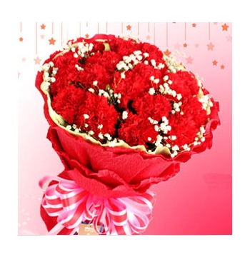 24 Red Carnations with Baby Breath and Greens Send to Manila Philippines